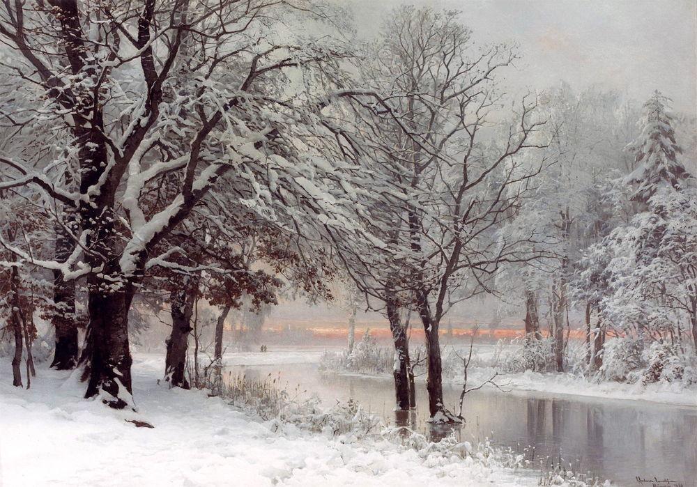 Обои для рабочего стола Закат виден сквозь деревья. Речка зимой