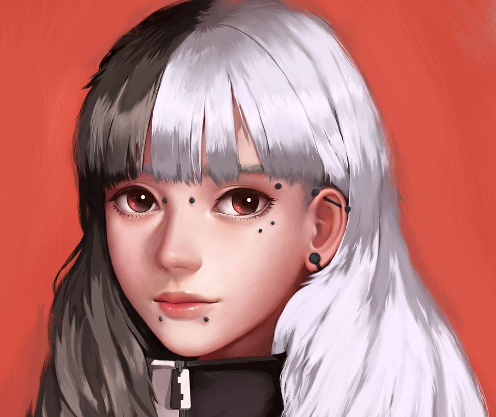 Девушка с чёрно белыми волосами