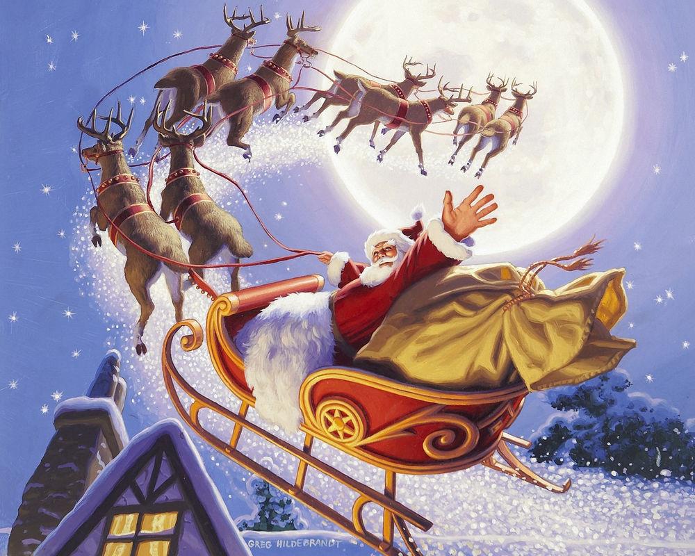 Обои для рабочего стола Дед Мороз с мешком подарков на санях запряженных оленями пролетает над крышами домов, художник Greg Hildebrandt