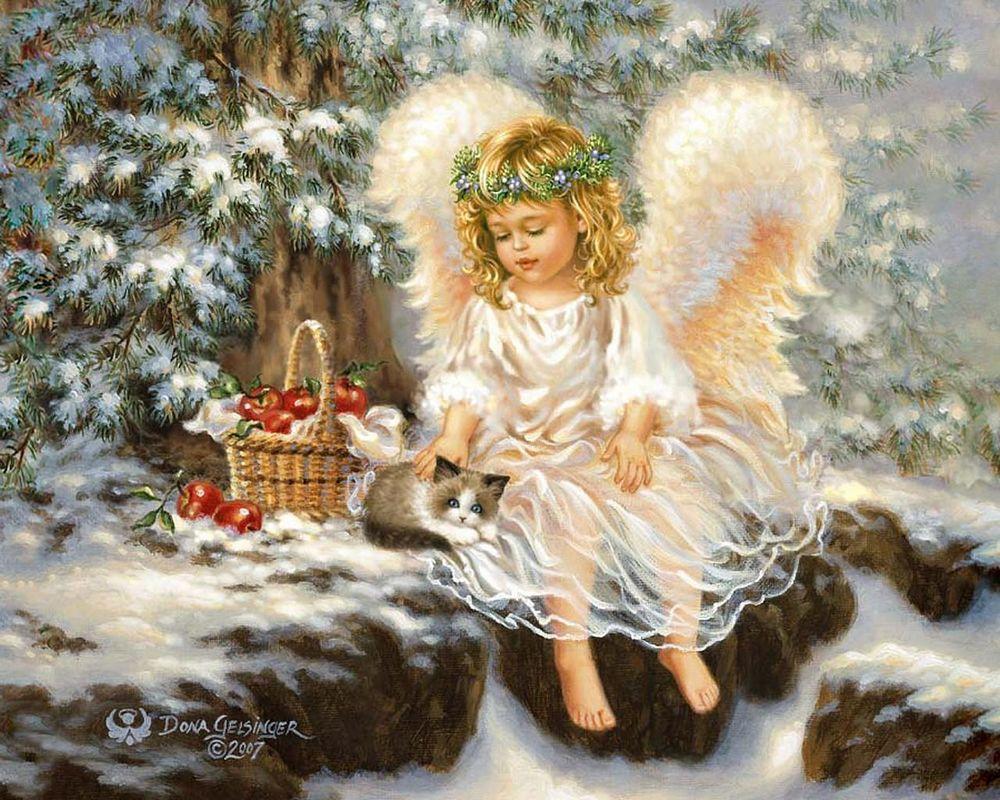 Обои для рабочего стола Девочка-ангел сидит около елки, гладит кота, рядом корзинка яблок, на фоне зимнего леса, художник Dona Gelsinge