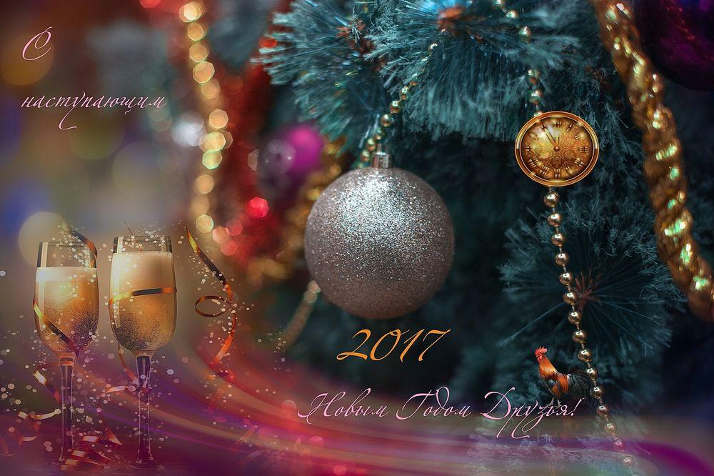 Обои для рабочего стола Два бокала шампанского у новогодней елки, (С наступающим 2017 Новым Годом, друзья! ), фотограф Михаил Александров