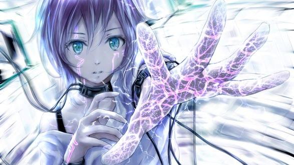 Обои Девочка со светящийся рукой / nuwanko