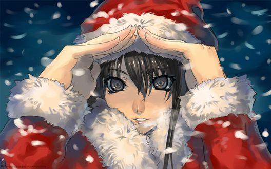 Обои Юкино Юкиношита / Yukino Yukinoshita в новогоднем костюме под падающим снегом, персонаж из аниме Как и ожидалось, моя школьная романтическая жизнь не удалась / Yahari Ore no Seishun Love Comedy wa Machigatteiru