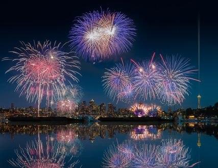 Обои Новогодний салют в Seattle / Сиэтле, фотограф William Lee