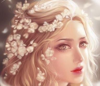Обои Портрет девушки с цветами в волосах, by bink tran