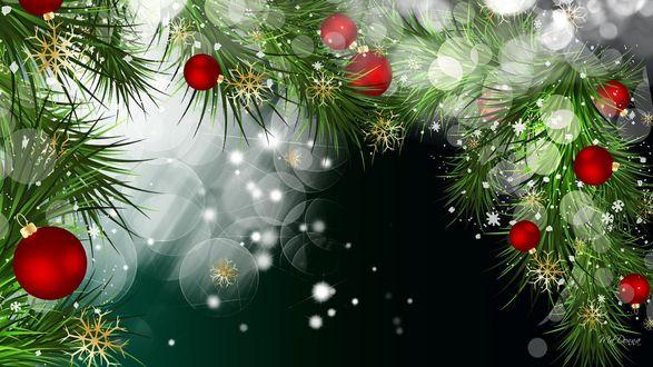 Обои Ветки елки с новогодними игрушками на фоне снежинок и бликов