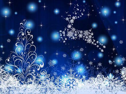 Обои На фоне зимнего неба с бликами снега, звезд, олень из снежинок, внизу снежный узор