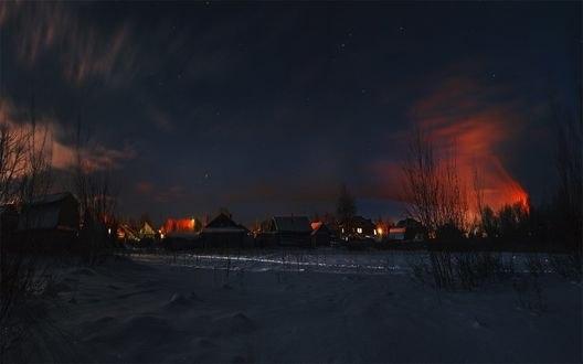 Обои Деревня зимней ночью, фотограф Подойницин Геннадий