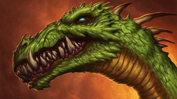 Обои Голова зеленого дракона плотоядно ухмыляется