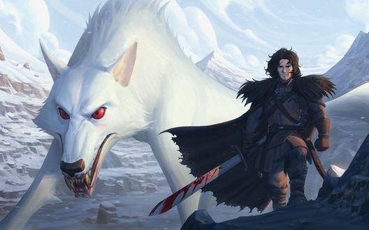 Обои Jon Snow / Джона Сноу и белый волк Ghost / Призрак из сериала Game of Thrones / Игра престолов