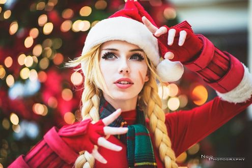 Обои Девушка в наряде Санта Клауса, by MeganCoffey