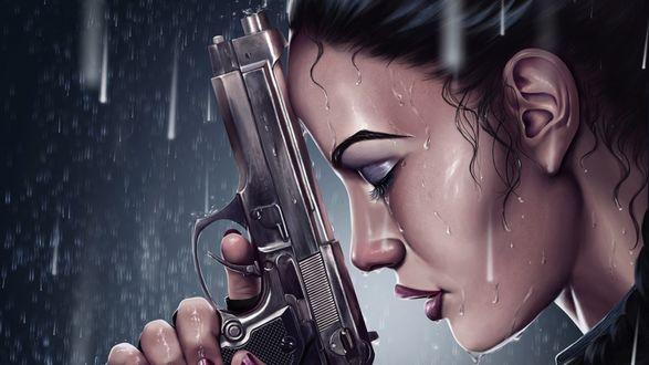 Обои Лара Крофт пистолетом под дождем
