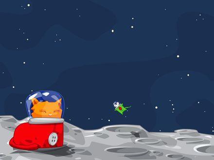 Обои Кошка и мышь в скафандрах в космосе, на другой планете