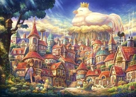 Обои Петух в короне восседает над огромным городом