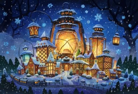 Обои Сказочный городок с огромным светящимся фонарем под падающим снегом
