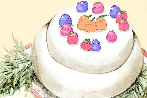 Обои Разноцветные птички на праздничном торте, by チャイ