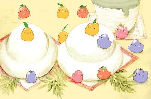 Обои Разноцветные птички и праздничные пирожные, by チャイ
