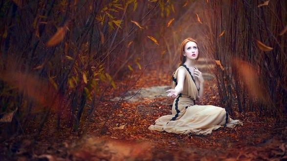 Обои Рыжеволосая девушка протянула руку сидя на осеннем фоне в листве, вокруг летают листья, by Djessica Drossin