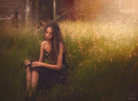 Обои Девушка грустно склонив голову сидит на лугу в траве, положив руки на колени на фоне закатного вечера, by Djessica Drossin