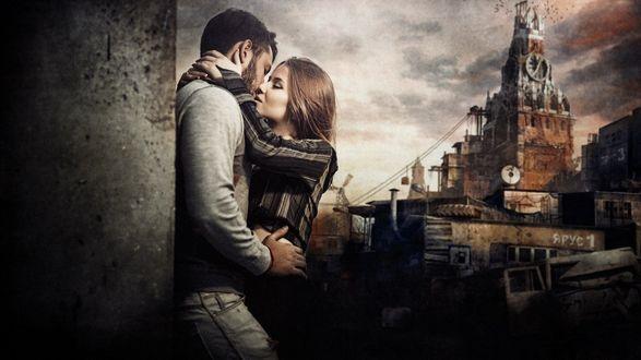 Обои Целующиеся парень с девушкой на фоне города Москва, фотограф Sergey Piltnik - Пилтник
