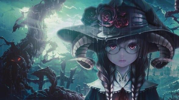 Обои Девушка с косичками в очках стоит под проливным дождем, на голове у нее ведьмовская шляпа украшенная розами, из под шляпы видны рога, by bouno satoshi
