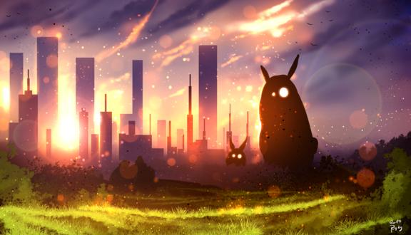 Обои Две фантастических зверюшки сидят в траве на фоне города, освещаемого лучами закатного солнца, by ryky