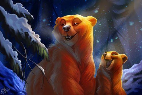 Обои Счастливый медвежонок и медведь в ночном зимнем лесу, by TehChan