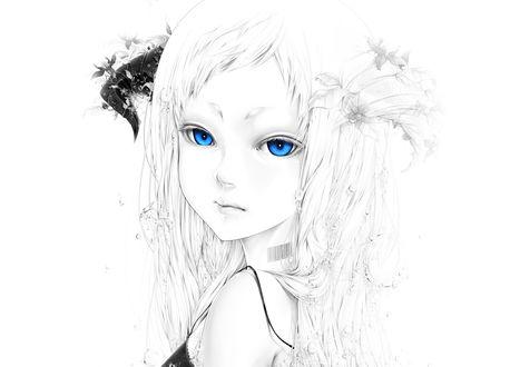 Обои Девушка с красивыми голубыми глазами и штрих кодом на шее под водой, на голове у нее рога украшенные цветами, возле волос видны пузырьки воздуха, by bouno satoshi