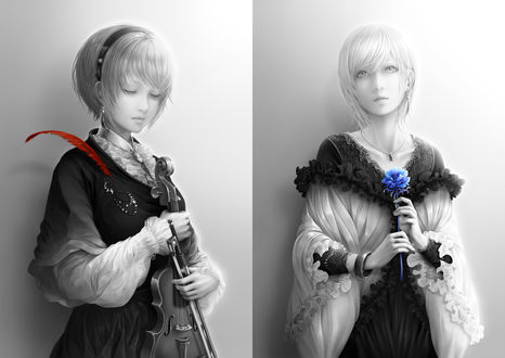Обои Две девушки в красивых платьях, одна в руках держит скрипку, а вторая голубой цветок, by bouno satoshi