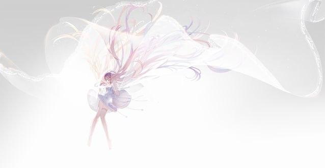 Обои Vocaloid IA / Вокалоид Ия в белом платье падает с неба