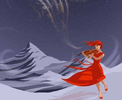 Обои Девушка со скрипкой идет по снегу, by Earlinwe