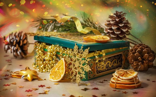 Обои Подарочная шкатулка с веточкой ели, шишками, дольками апельсинов и снежинками, фотограф Инна Сухова