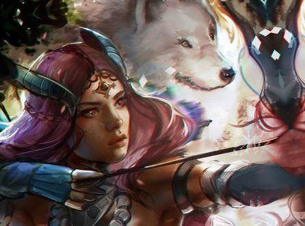 Обои Лучница и белый волк из игры Guild Wars