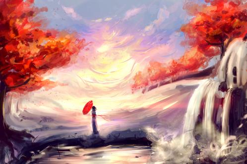 Обои Девушка с красным зонтом стоит на фоне осенней природы, by b1tterRabbit