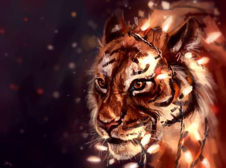 Обои Тигр в праздничной гирлянде под падающим снегом, by AlaxendrA