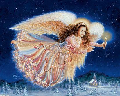 Обои Девушка с крыльями ангела, со свечкой в руке летит по ночному, звездному небу над рождественской деревней