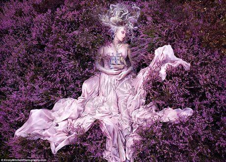 Обои Девушка с полузакрытыми глазами в нежно-розовом длинном платье лежит на лавандовой поляне, держа в руках парусник, by Kirsty Mitchell