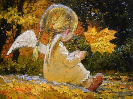 Обои Девочка - ангел сидит с осенним кленовым листом в руке на фоне осенних деревьев, by V. Nizovtsev544