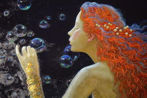 Обои Русалка пускает мыльные пузыри, художник V Nizovtsev / Виктор Низовцев
