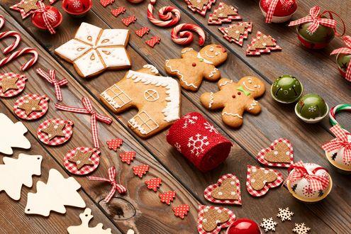 Обои Рождественские украшения и сладости, Merry Christmas / Веселого Рождества