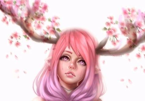 Обои Девушка с цветущими оленьими рогами