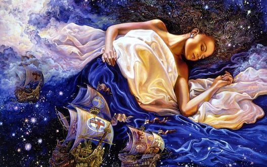 Обои Спящая девушка, укрытая покрывалом из морской глади с кораблями, художник Josephine Wal / Жозефины Уолл