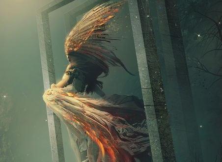 Обои Девушка в фантастическом платье, с украшением на голове стоит в дверной рамке, by zacky7avenged