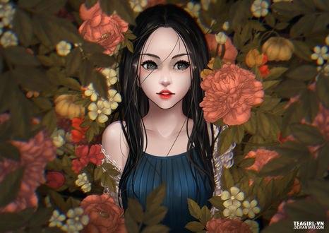 Обои Дeвушка в цветах, by teagirl-vn