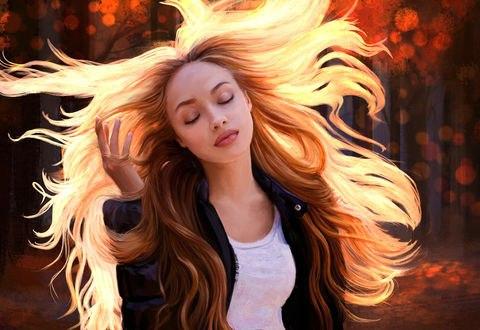 Обои Девушка с развевающимися волосами, by Mandy Jurgens