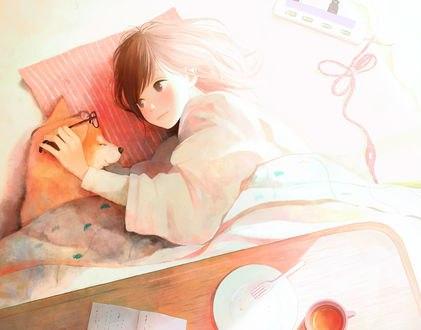 Обои Девушка и пес шиба-ину лежат на подушке, by 中村ひなた