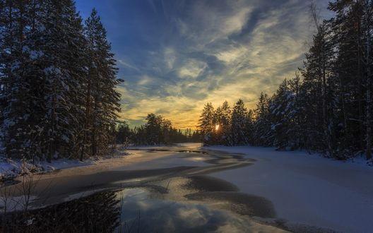 Обои Хмурый зимний рассвет над замерзшим лесом и скованной льдом речкой