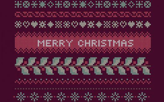 Обои Изображение стилизованное под рождественский свитер с надписью Merry Christmas / Счастливого Рождества