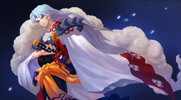 Обои Демон Sesshomaru / Сесшомару с катаной из аниме Инуяша / InuYasha