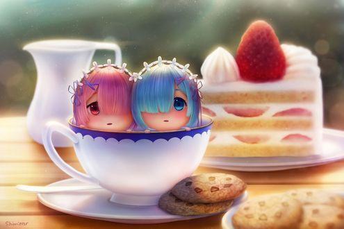 Обои Близняшки Рам / Ram и Рем / Rem из аниме Re: Жизнь в альтернативном мире с нуля / Re: Zero kara Hajimeru Isekai Seikatsu в чайной чашке, стоящей на столе с печеньем и тортом
